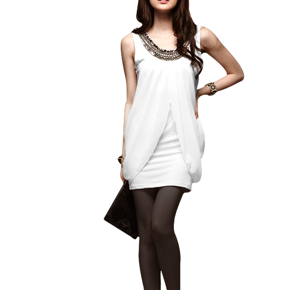 Summer Chiffon Fly Away Solid White Leisure Tunic Shirt XS for Woman