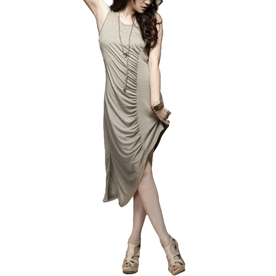 Summer Sleevesless Khaki Ruffled Slanting Hem Dress XS for Women