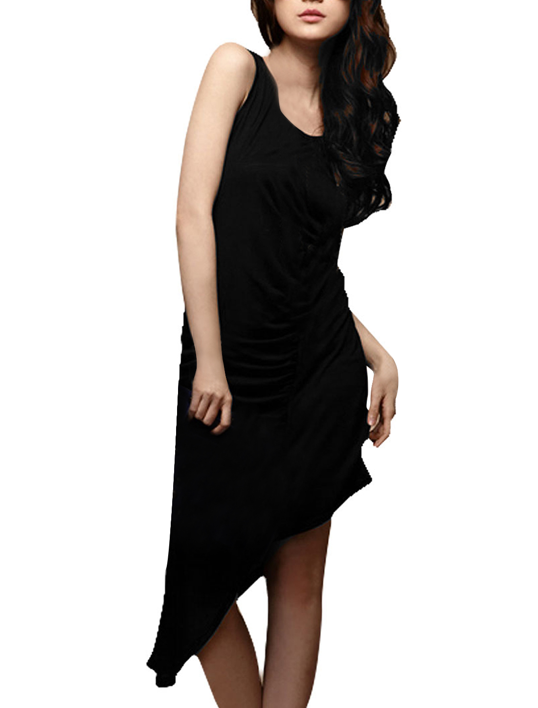 Woman Solid Black Low Round Neck Leisure Slanting Edge Dress XS