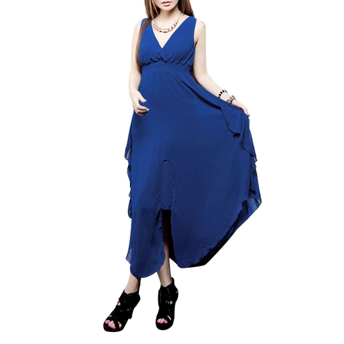 Lining High Waist Summer Casual Empire Tank Dress Blue XS for Woman