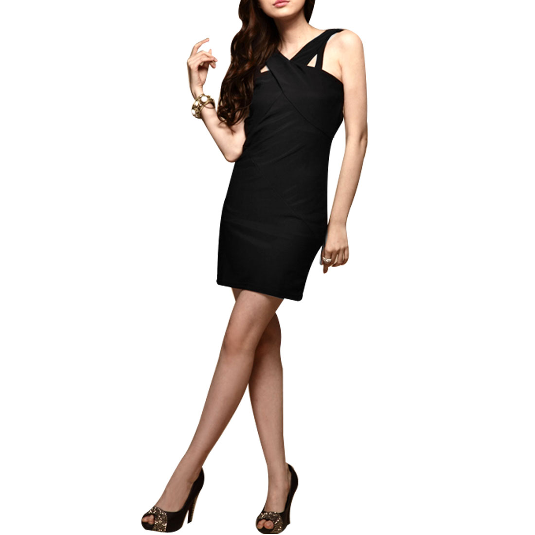 Ladies Sleevesless Hollow Out Back Solid Black Mini Bodycon Dress XS