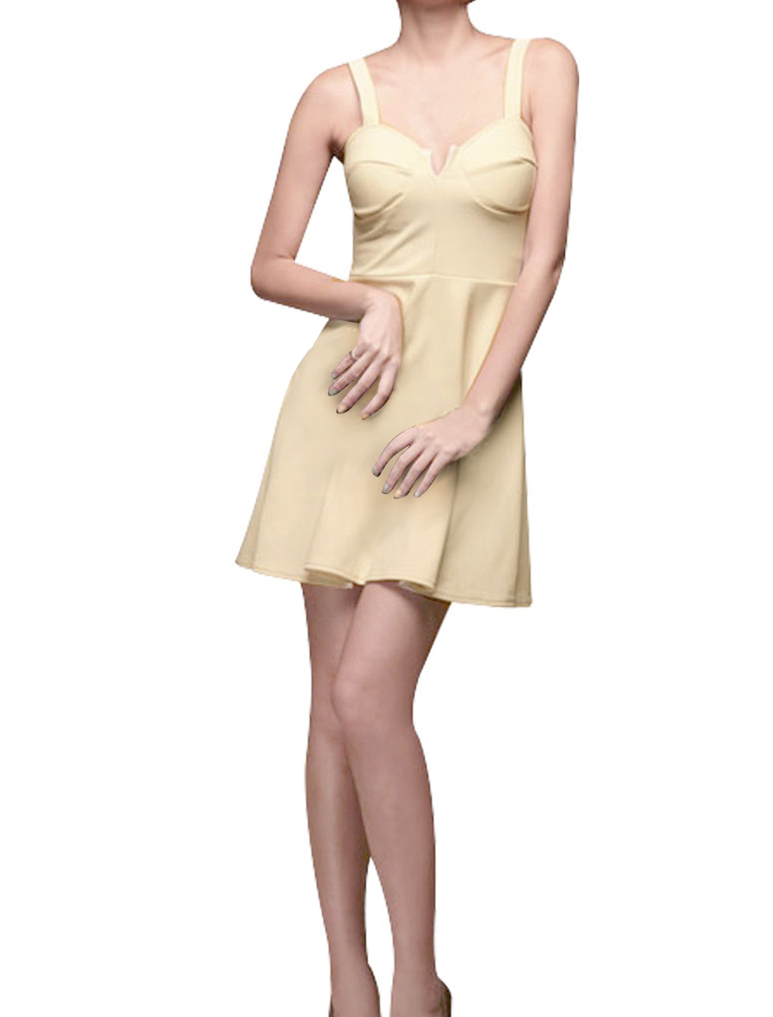 Ladies Sheevesless Sweetheart Neckline Mini A Line Dress Beige XS