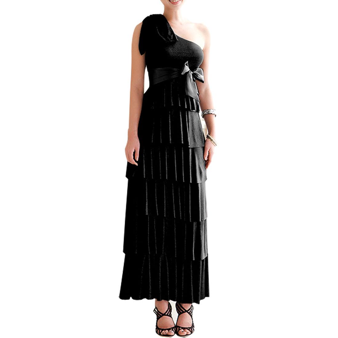 Woman Black Flower Detail Slanting Shoulder Sleevesless Empire Evening Dress XS