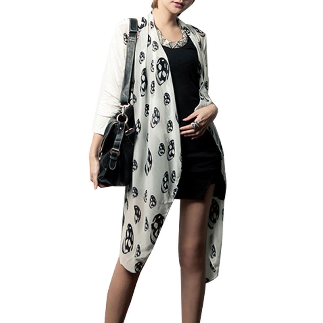 Women White Long Sleeveless Black Skull Head Print Drape Cardigan XS