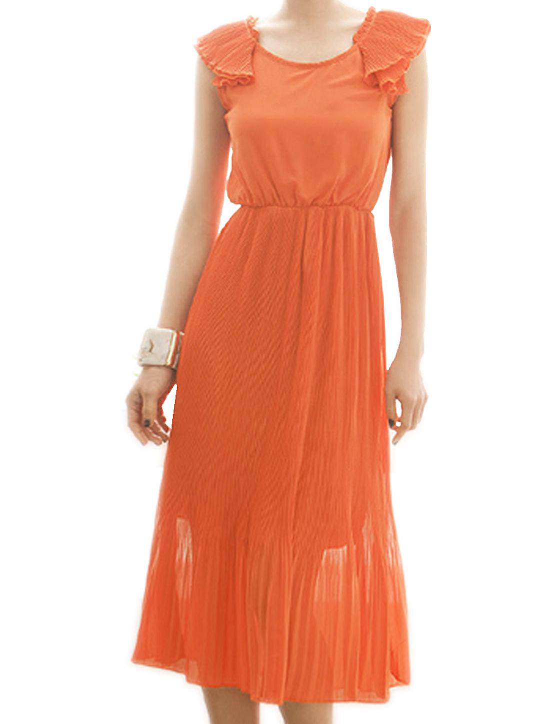 Woman Elastic Waist Flouncing Decor Round Neck Tunic Pleated Dress Orange XS