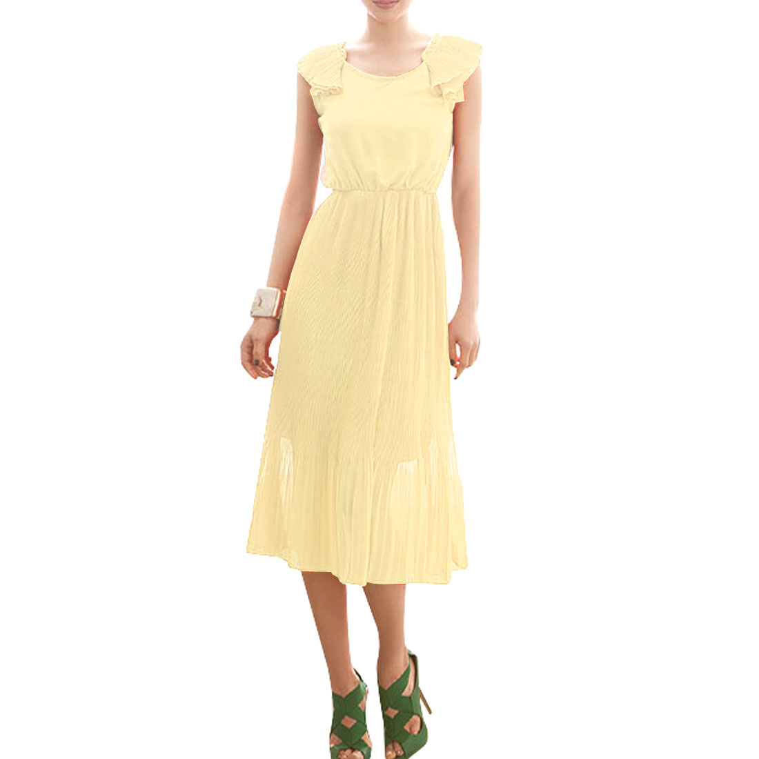Low Round Neck Sleevesless Beige Organ Pleated Chiffon Dress XS for Ladies