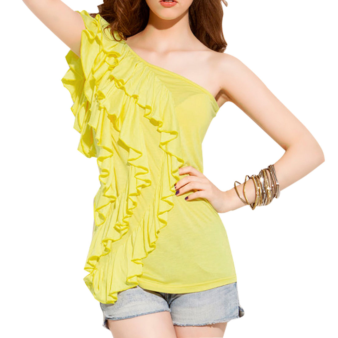 Ladies Sleevesless Slanting Shoulder Layered Shirt Yellow XS