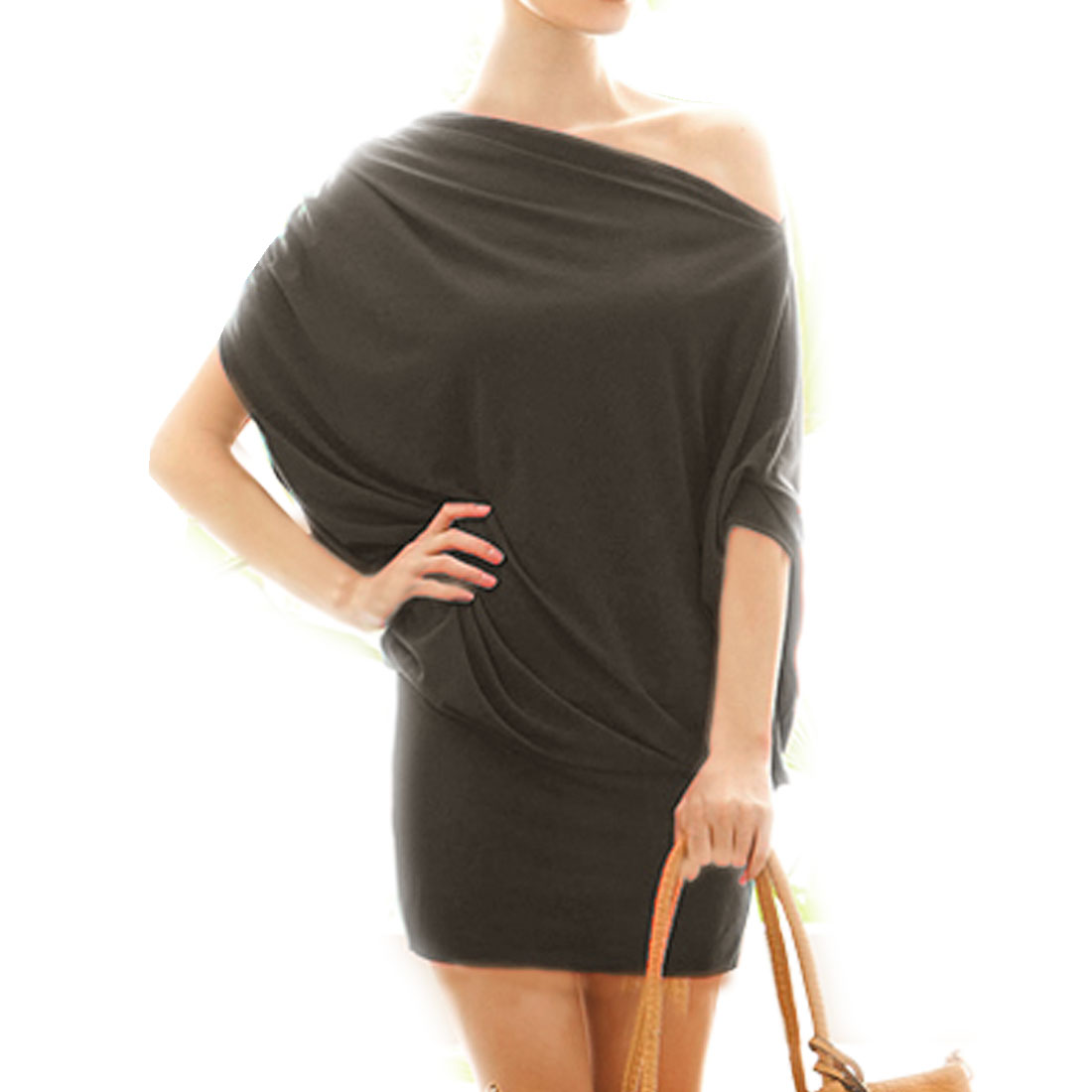 Woman One-Shoulder Elastic Waist Coffee Color Mini Hip Dress M