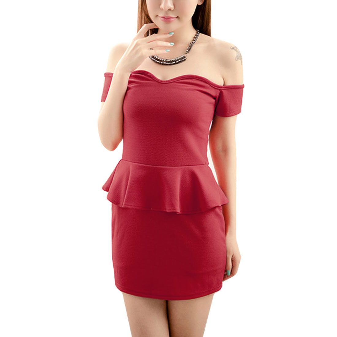 Red Boat Neck Short Sleeves Mini Flounce Dress XS for Ladies