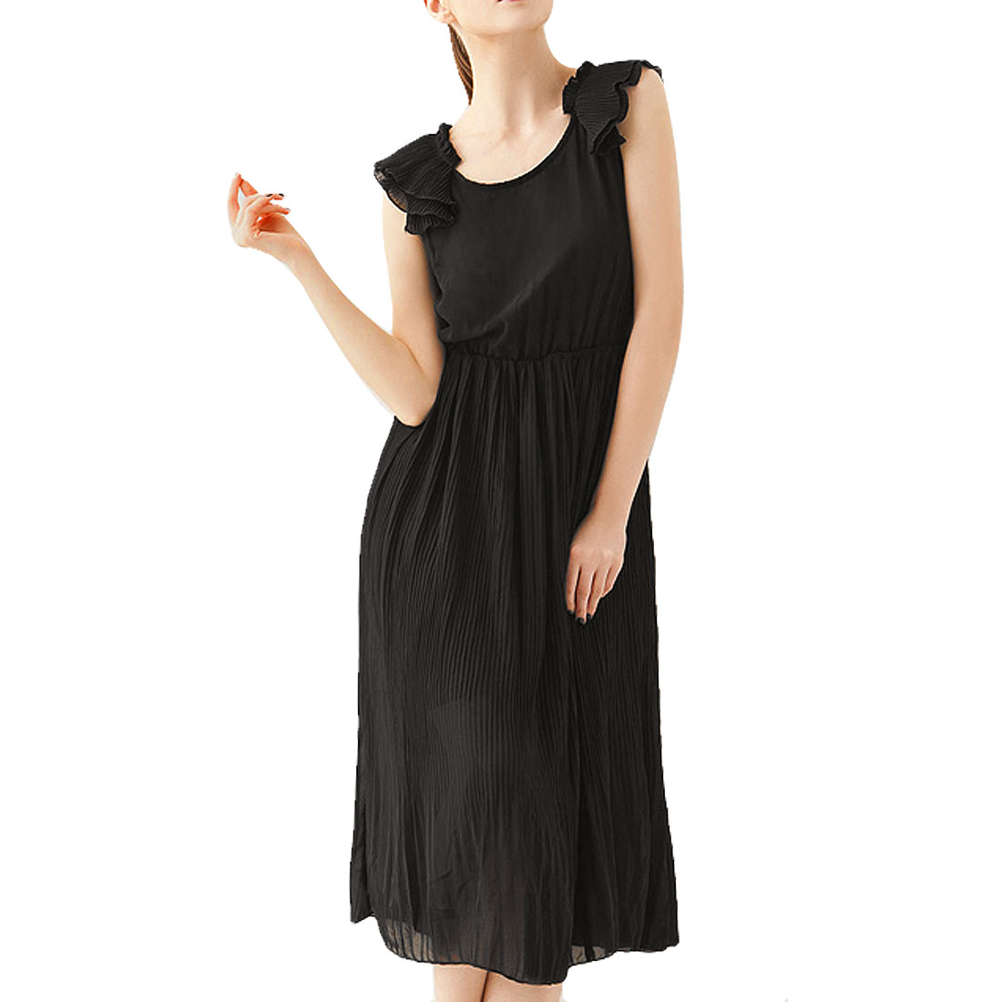 Women Flouncing Neckline Summer Lining Organ Pleated Tank Dress Black XS