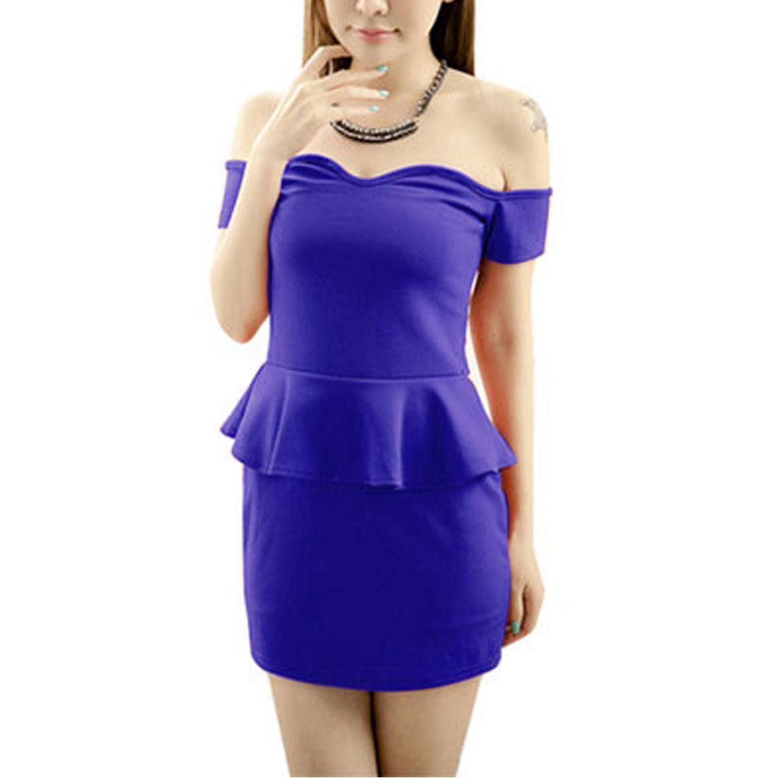 Summer Back Zipper Closure Dark Blue Tiered Mini Dress XS for Woman
