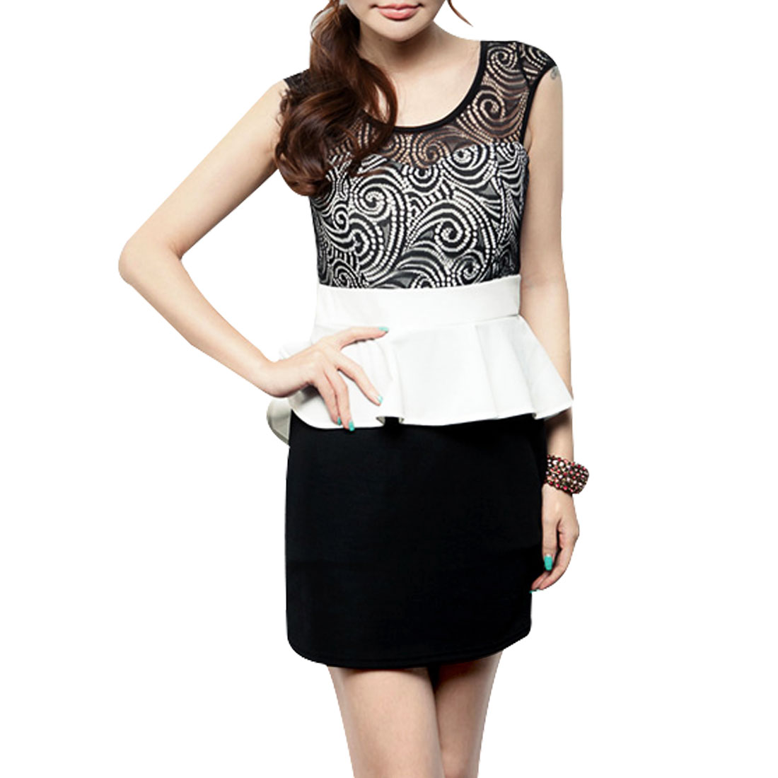 Ladies Round Neck Sleevesless Flouncing Mini Dress Black White XS