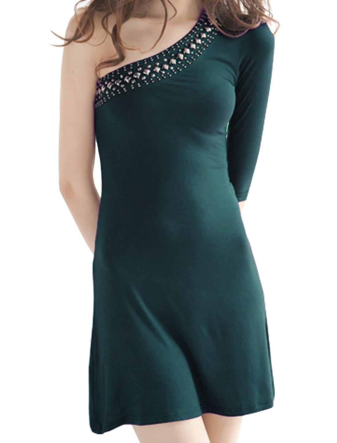 Women Beads Accent One Shoulder 1/2 Sleeves Dress Dark Green XS