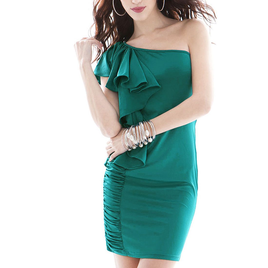 Women Green Ruffled Side One Shoulder Flutter Sleeves Mini Hip Dress XS