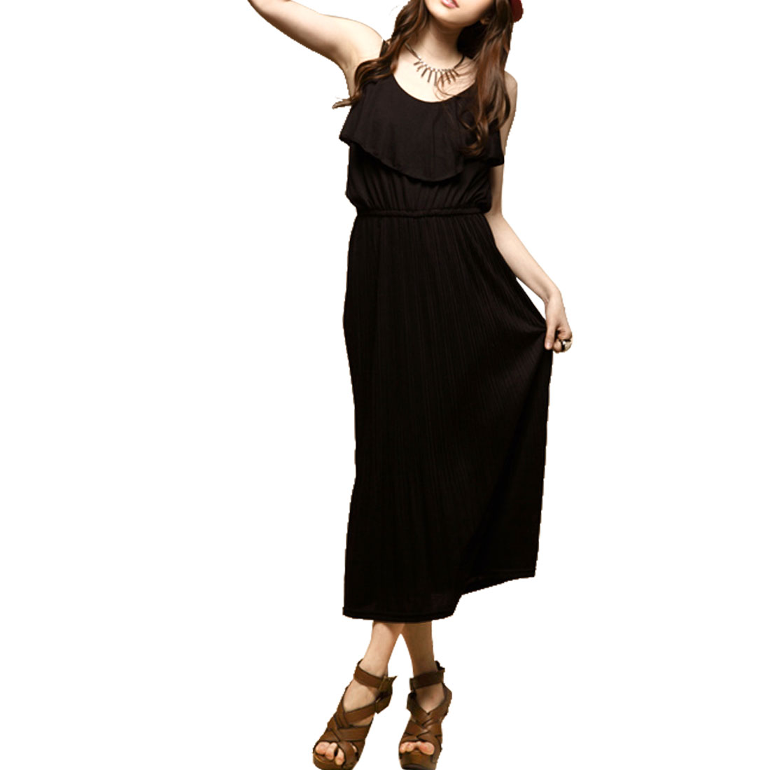 Women Summer Black Stretchy Waist Full-length Accordion Dress XS