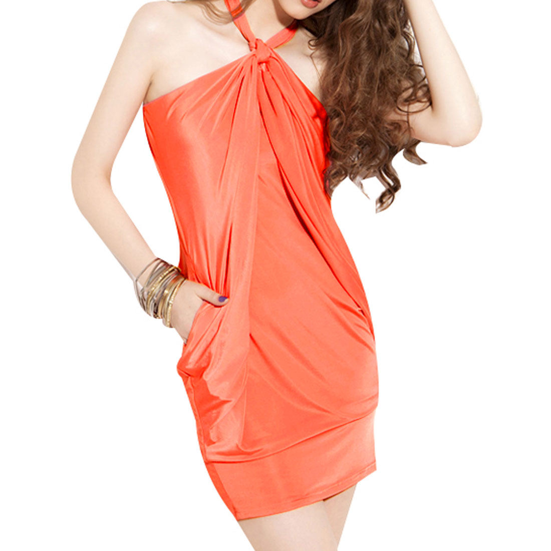 Lady Orange-Red Halter Neck Sleeveless Elastic Bust Bowknot Mini Dress XS