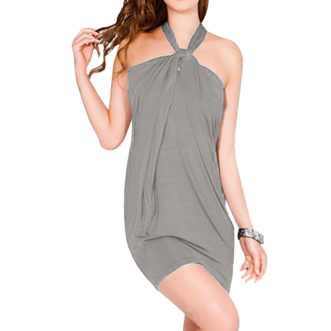 Woman Gray Halter Neck Sleeveless Sheath Waist Mini Dress XS