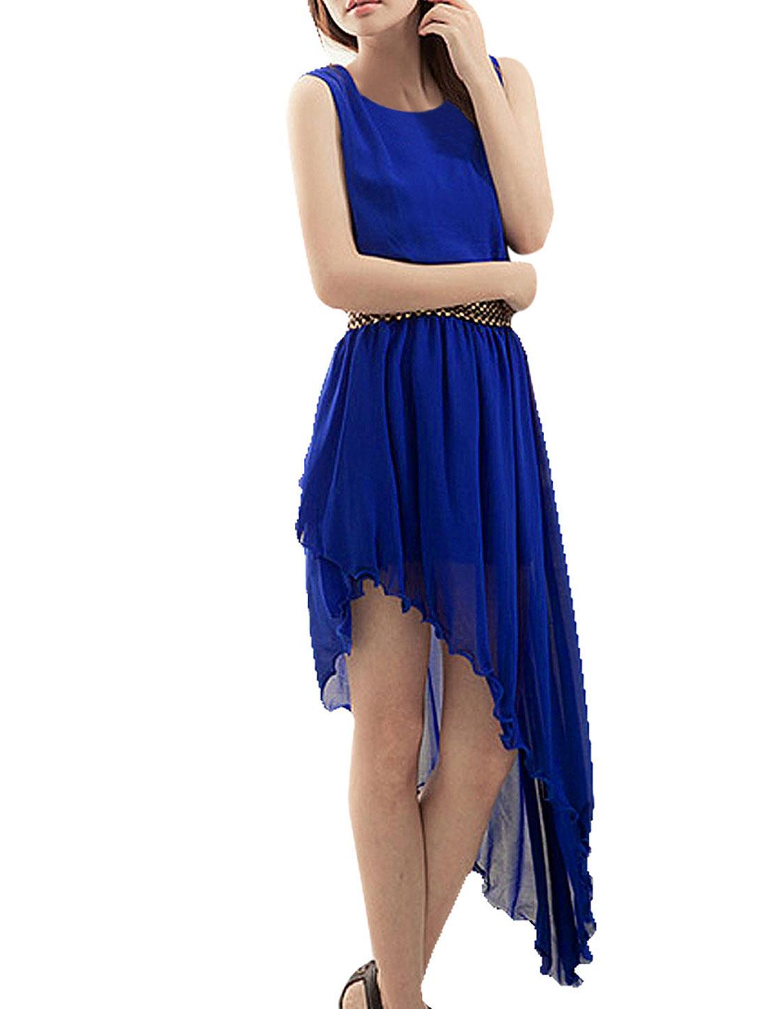 Lady Blue Low High Hem Wavy Design Elastic Waist Sleeveless Dress XS