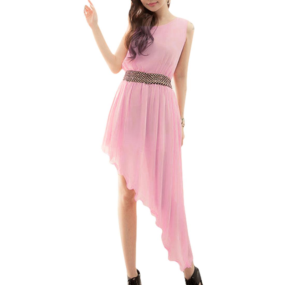 Woman Pink Chiffon Pullover Low High Hem Sleeveless Dress XS