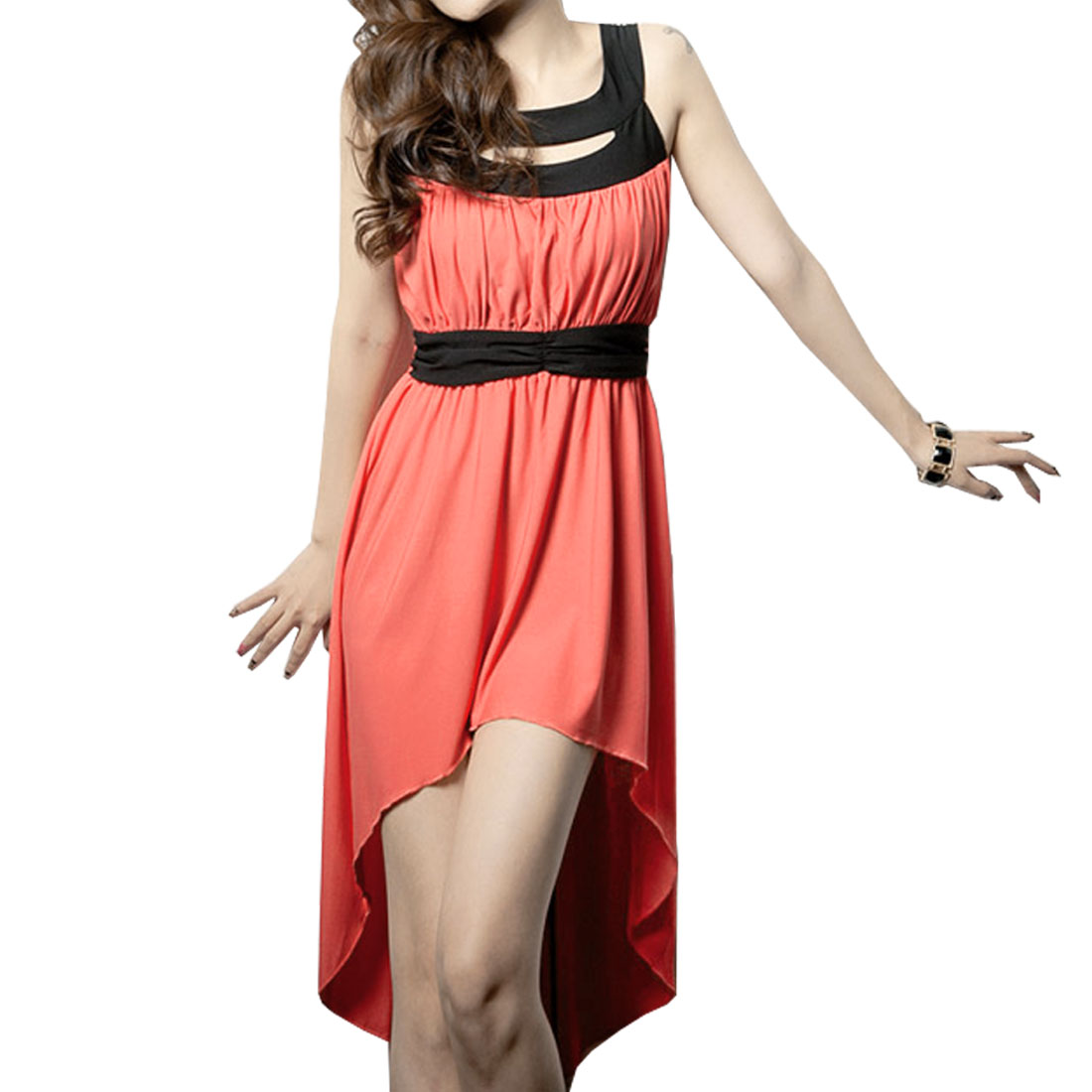 XS Orange Red Backless Hollow Out Shoulders Dress for Lady