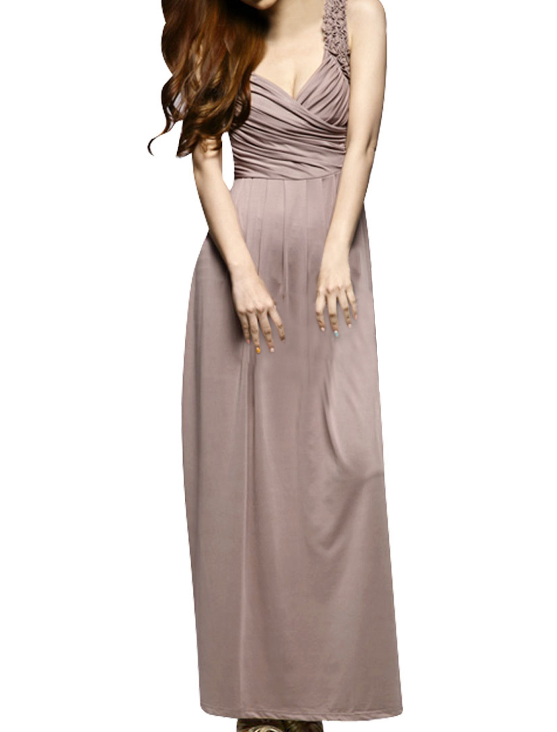 Lady Khaki Sleeveless Crossover V Neck Low-Cut Maxi Dress S