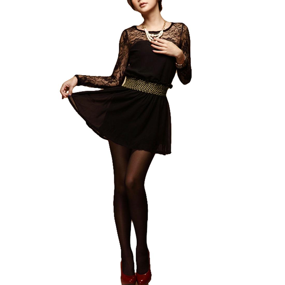 Laced Flowers Pattern Sheath Wasit Chiffon Mini A Line Dress Black XS for Women