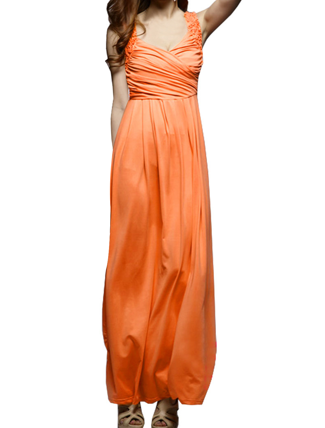 Woman Orange Sleeveless Crossover V Neck Ruffled Shoulders Dress XS