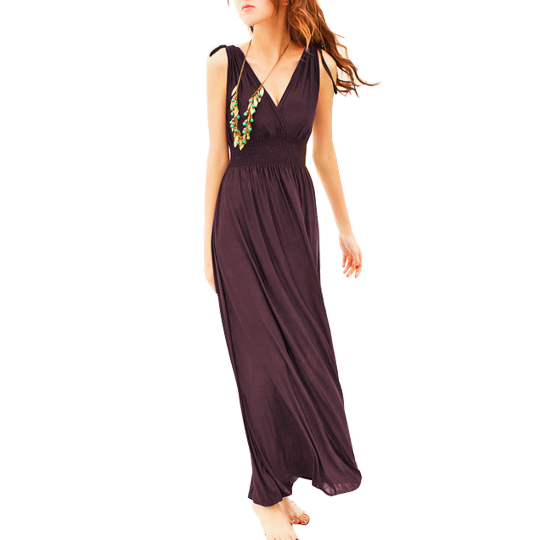 Woman Coffee Color Crossover V Neck Ruched Waist Empire Maxi Dress XS