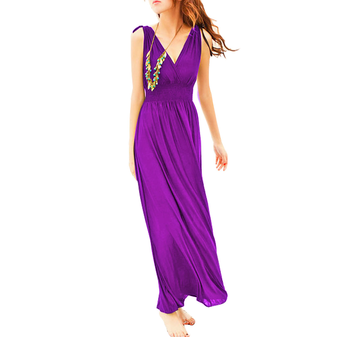 Ladies Purple Sleeveless Crossover V Neck Elastic Empire Maxi Dress XS