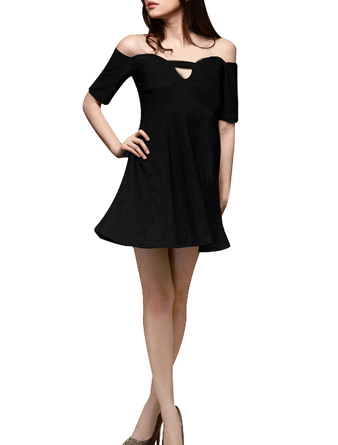 Black Boat Neck Short Sleeve Elastic Waist A Line Dress for Lady XS