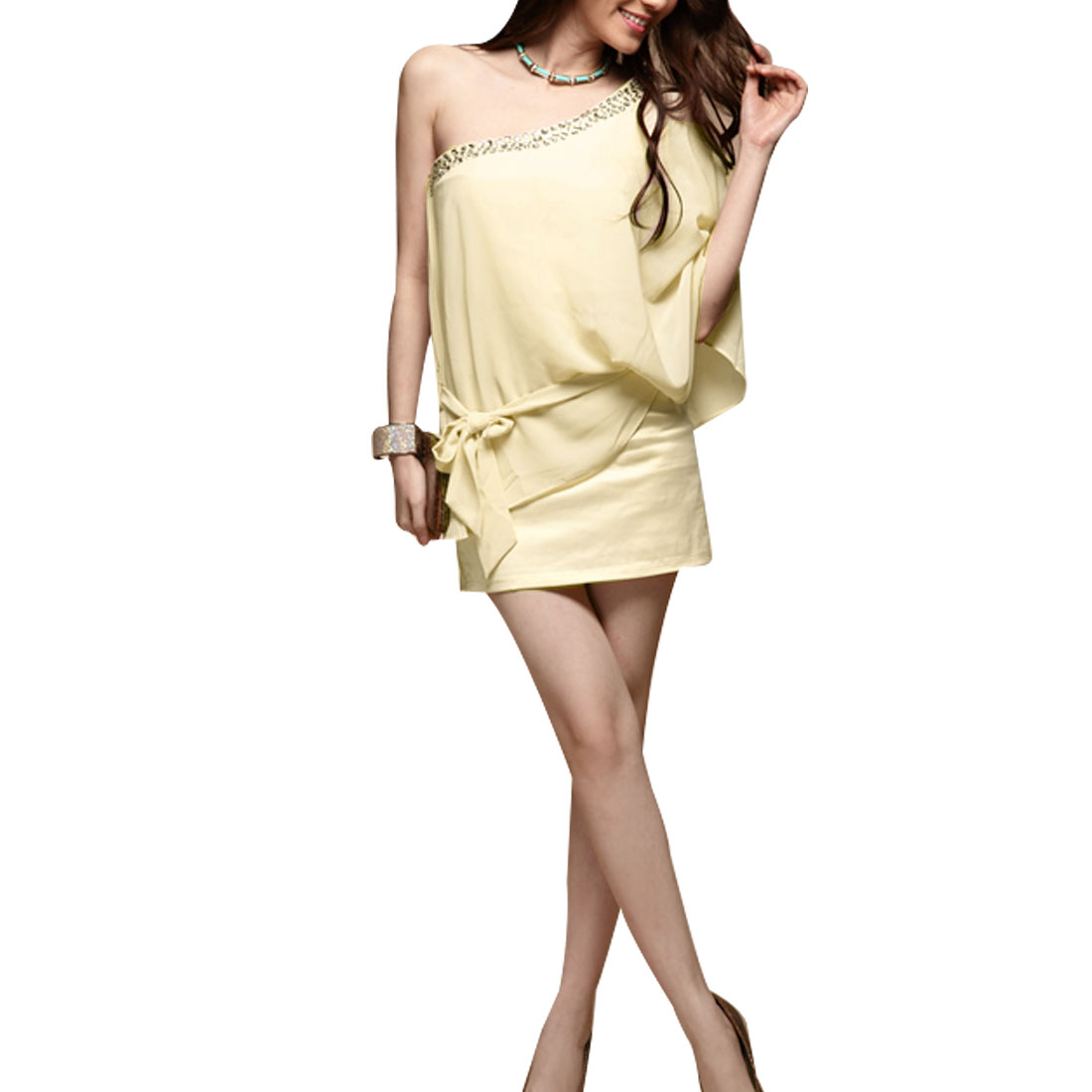 XS Beige off Shoulder Faux Rhinestone Decoration Mini Dress for Lady