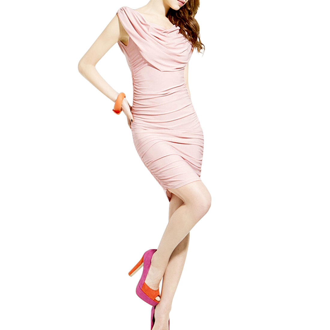 Solid Pink Sleevesless Sexy Slim Pullover Mini Sheath Dress XS for Ladies