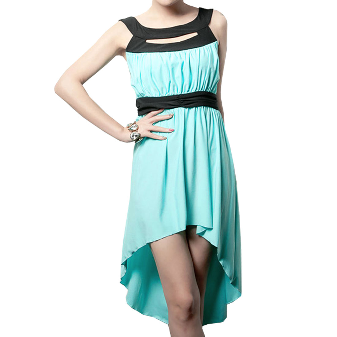 Woman Cyan Shoulders Sleeveless Hollow Out Dress XS
