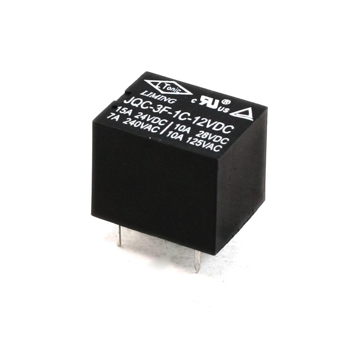 JQC-3F-1C DC 12V Coil SPDT 5-Pin PCB Type Mini Power Relay