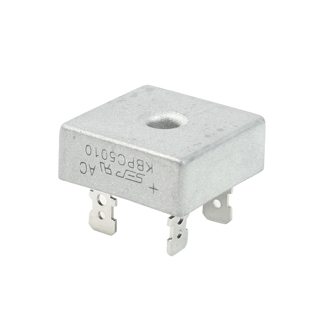 KBPC50-10 1KV 50Amp Silver Tone Metal Case Single Phase Bridge Rectifier