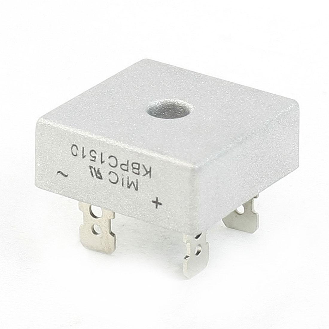 KBPC15-10 1KV 15Amp Silver Tone Metal Case Single Phase Bridge Rectifier