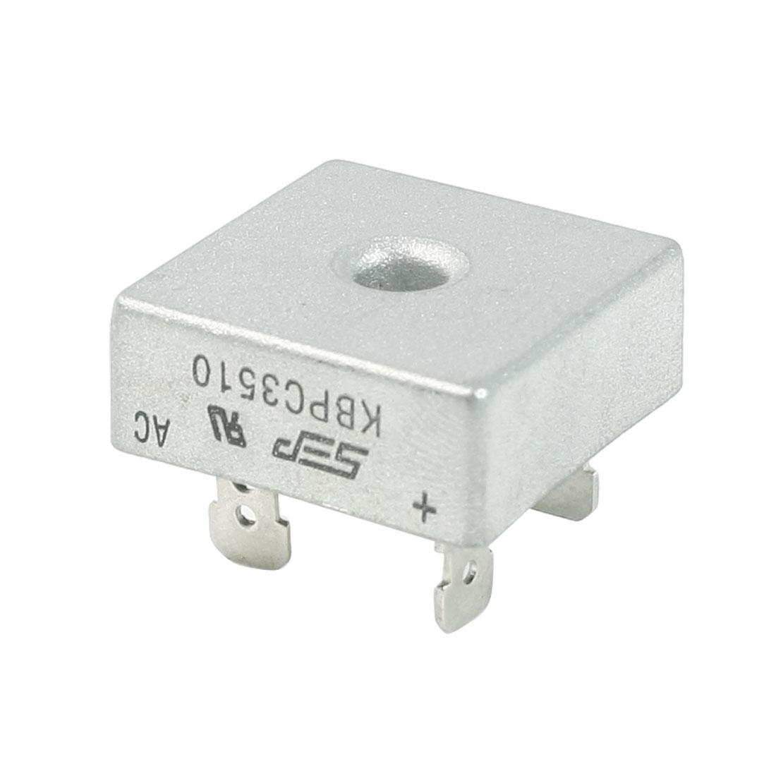 KBPC35-10 1KV 35Amp Silver Tone Metal Case Single Phase Bridge Rectifier