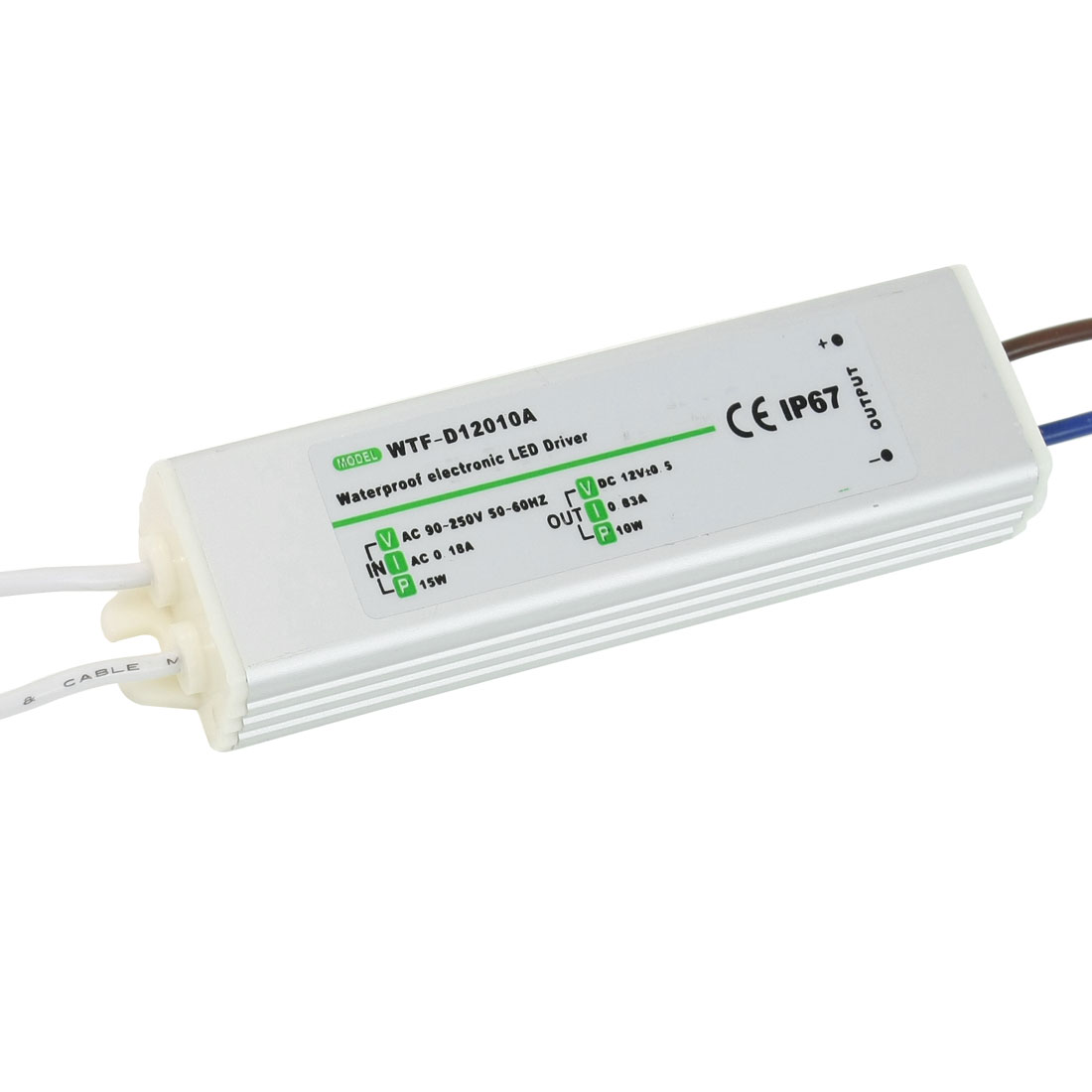 90-250VAC 12VDC 0.83A 10W Waterproof IP67 Drive Power Supply for LED Strip Light