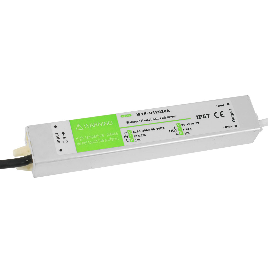 90-250VAC 12VDC 1.67A 20W Waterproof IP67 Drive Power Supply for LED Strip Light