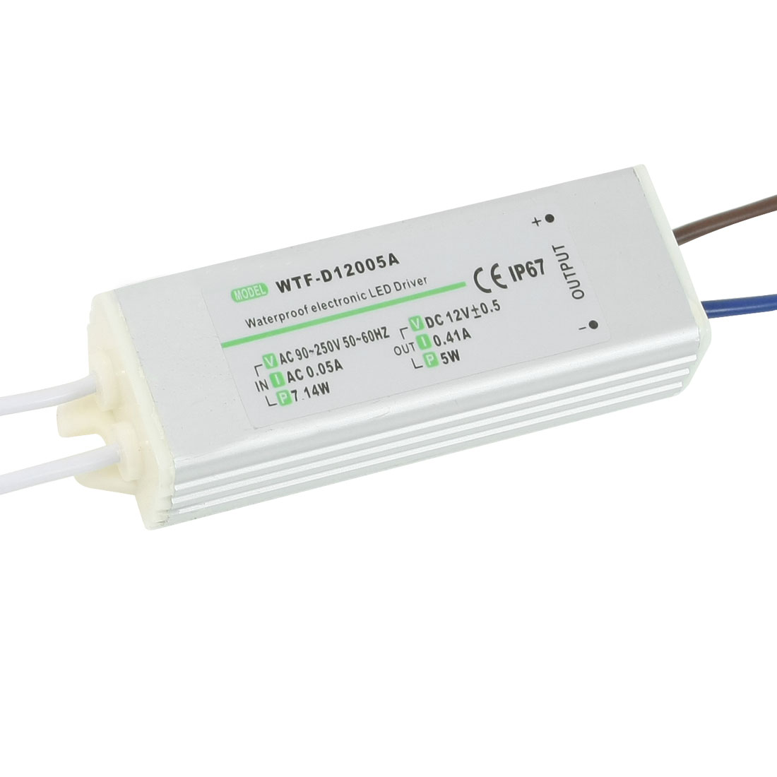 90-250VAC 12VDC 0.41A 5W Waterproof IP67 Drive Power Supply for LED Strip Light