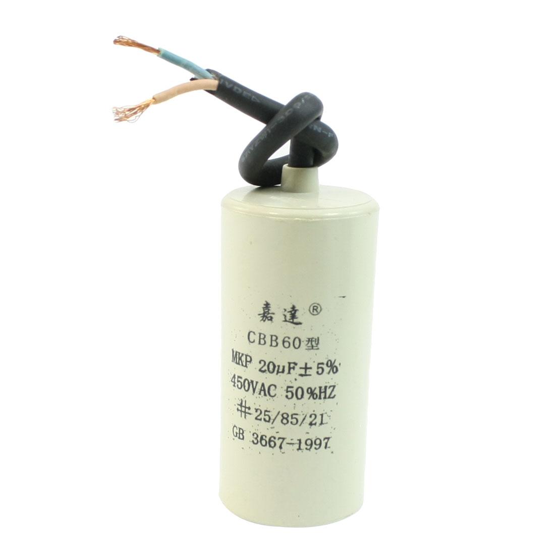 CBB60 AC 450V 20uF Cylindrical Non Polar Motor Capacitor for Washing Machine