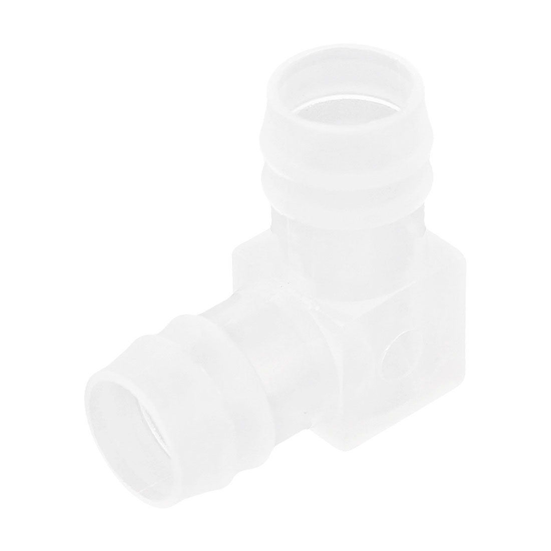 Fish Tank Plastic 18mm Dia L Shape Clear White Water Tubing Connectors