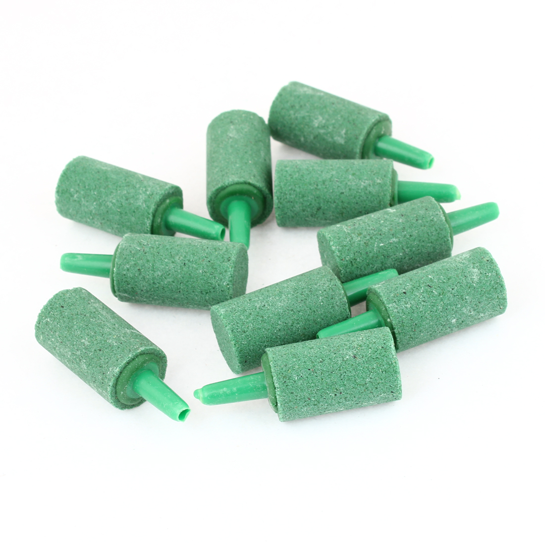 10 Pcs Green 15mm x 27mm Cylinder Mini Bubble Air Stone for Aquarium