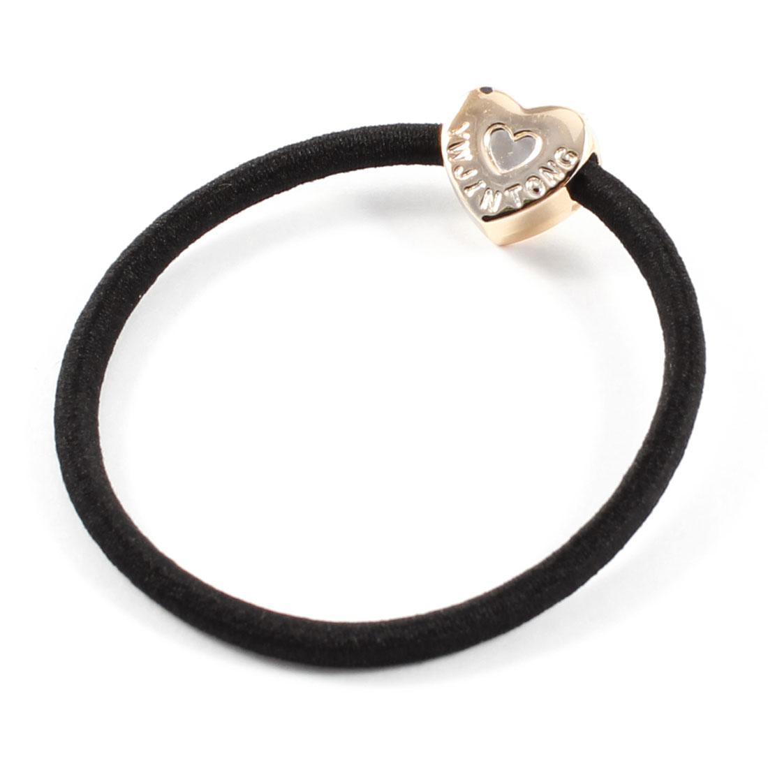 Lady Heart Decor Nylon Coated Elastic Ponytail Holder Hair Band Black