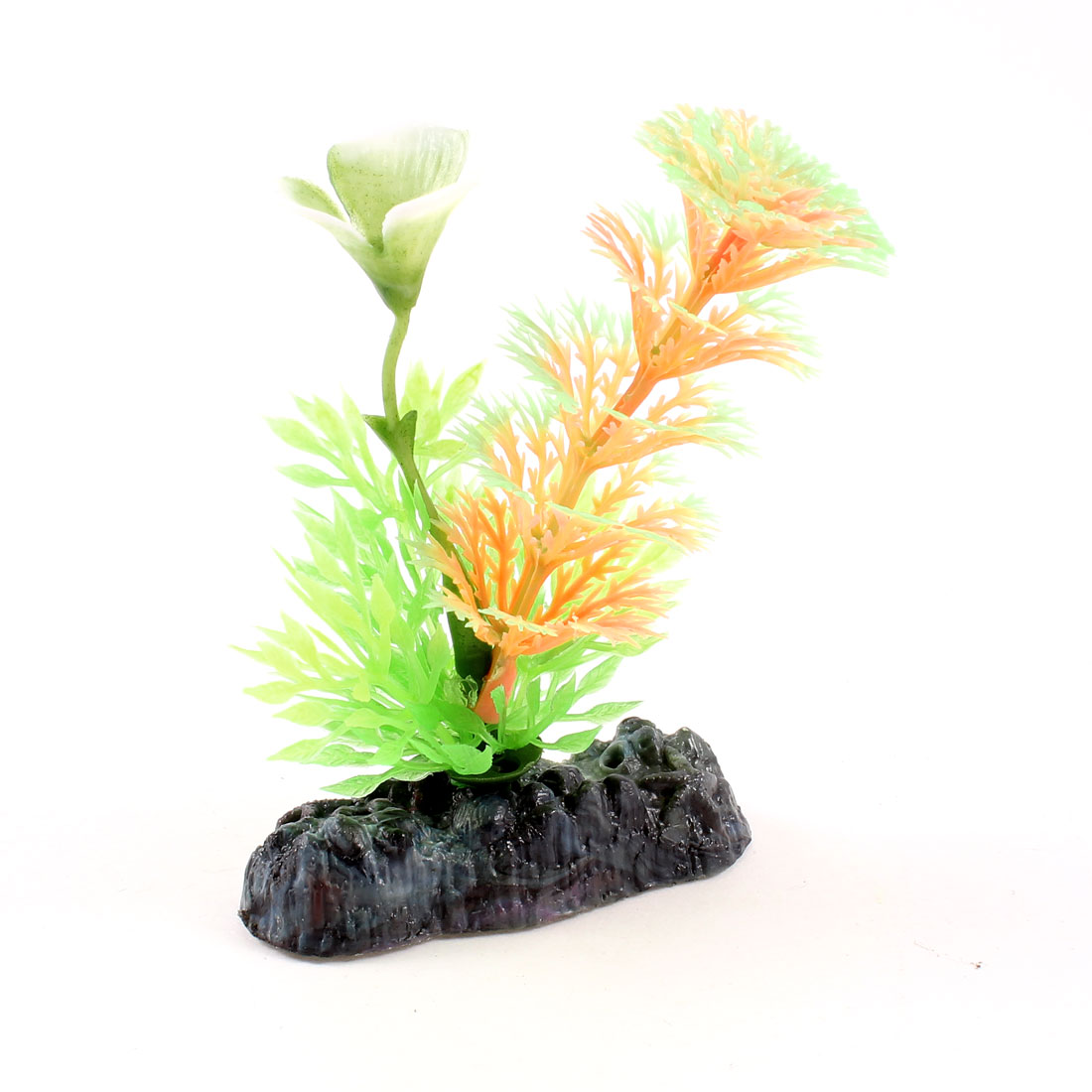 "3.7"" Fish Tank Ornament Multicolored Manmade Luminous Plant Grass w Stone Base"