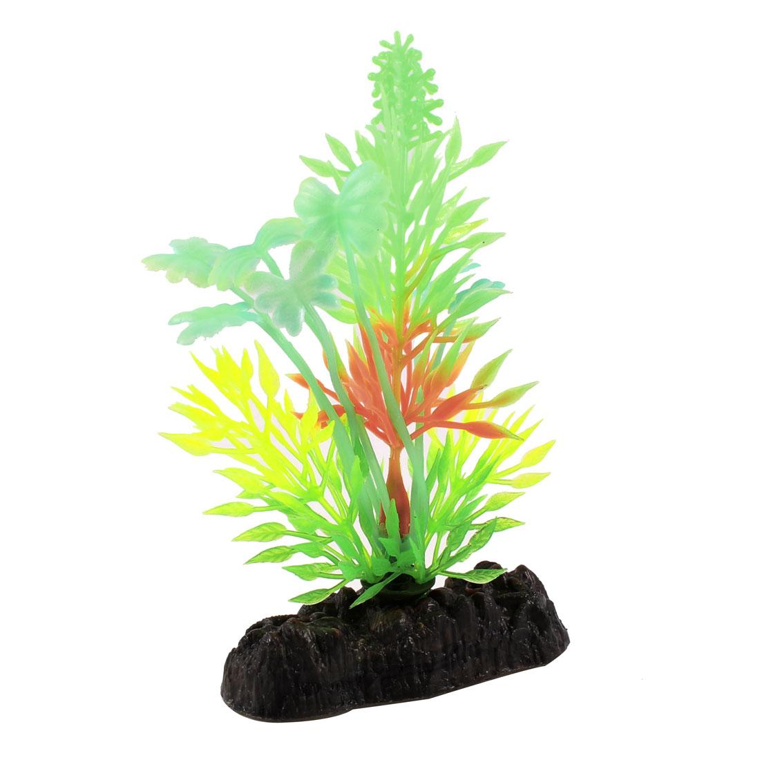 Aquarium Landscaping Colorful Artificial Luminous Plant Grass w Stone Base