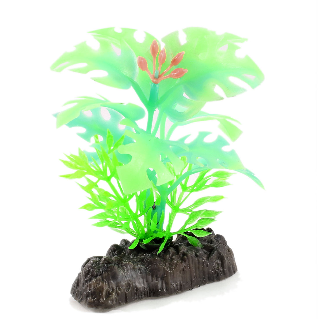 Fish Tank Aquascaping Stone Base Plastic Glow Light Plant Green Green Yellow