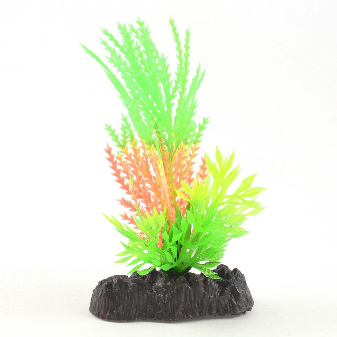 Fish Tank Decor Green Light Orange Plastic Glow Light Water Plant w Stone Base