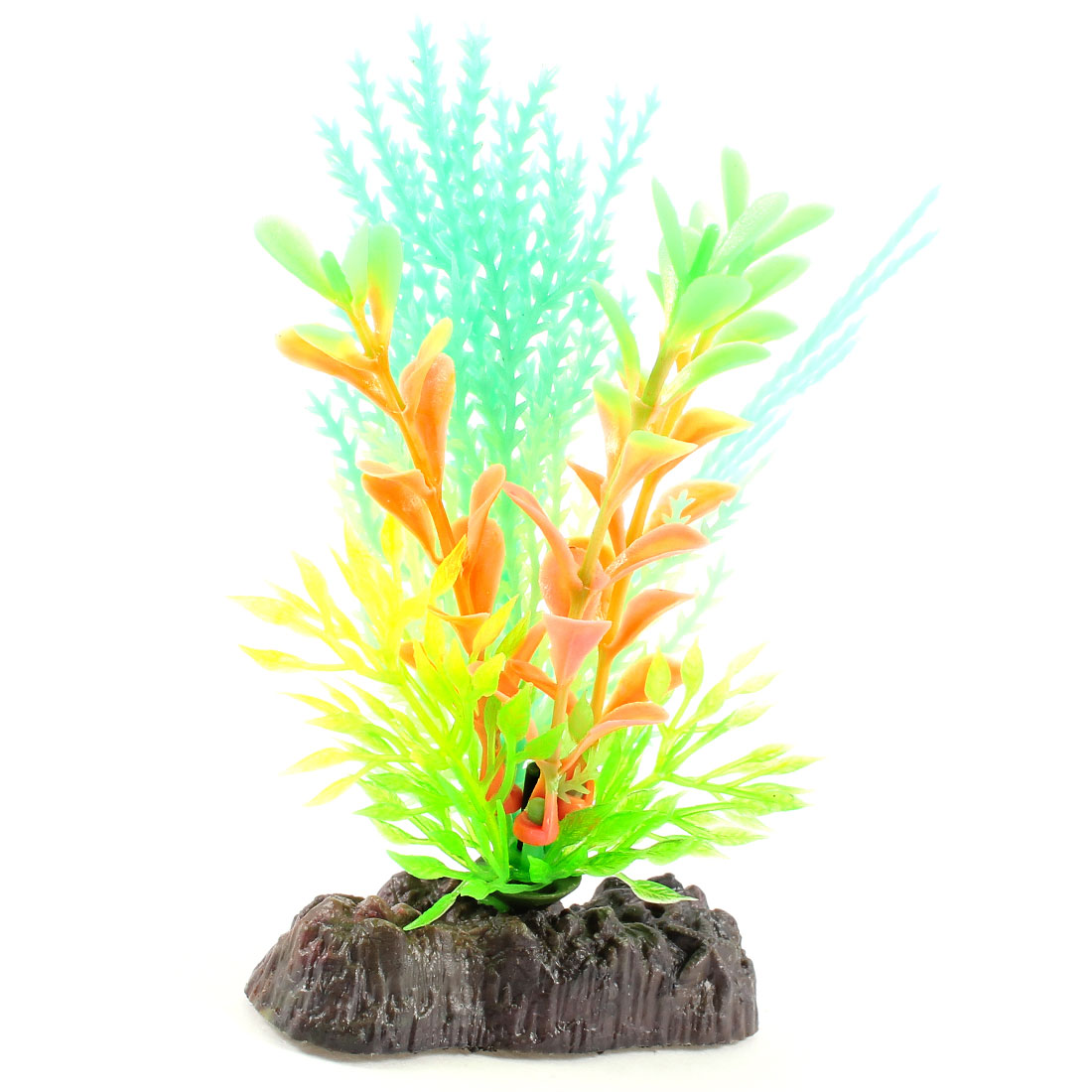 "4.3"" Aquarium Landscaping Decor Plastic Luminous Water Plant Green Light Orange"