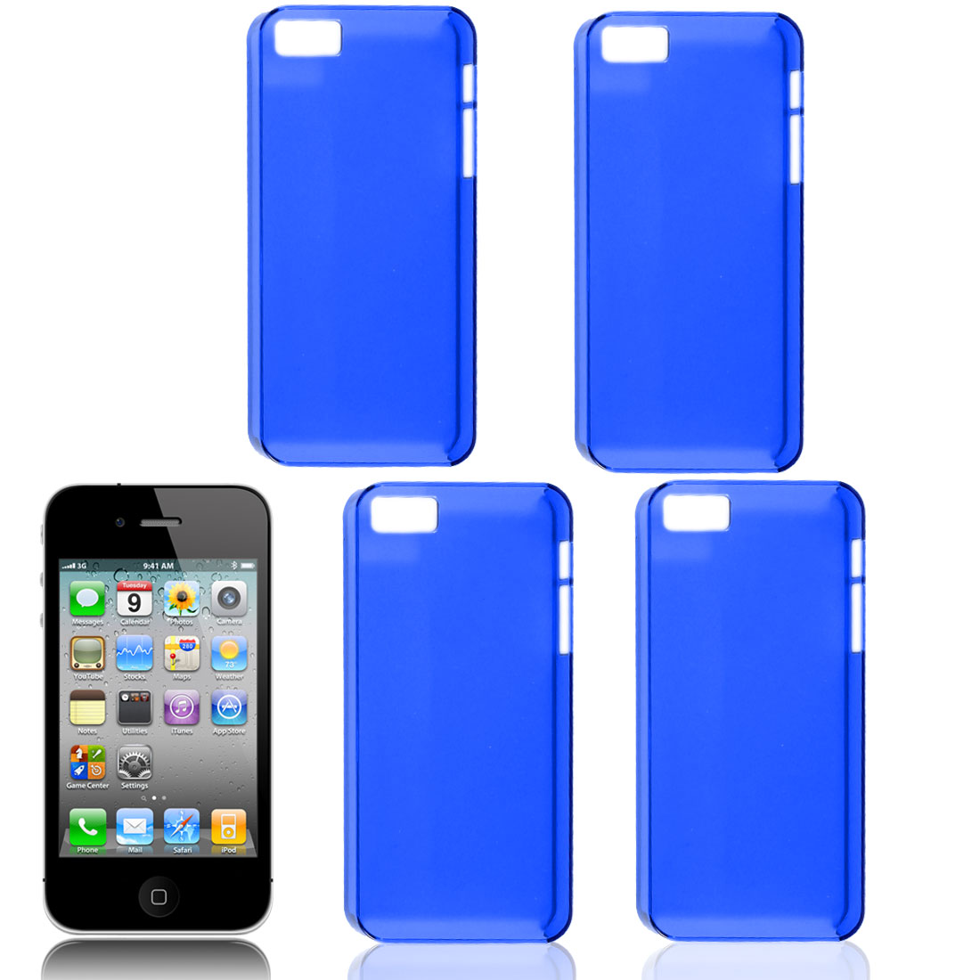 4 Pcs Blue Plastic Protector Shell Back Case Cover for iPhone 5 5S 5G 5GS